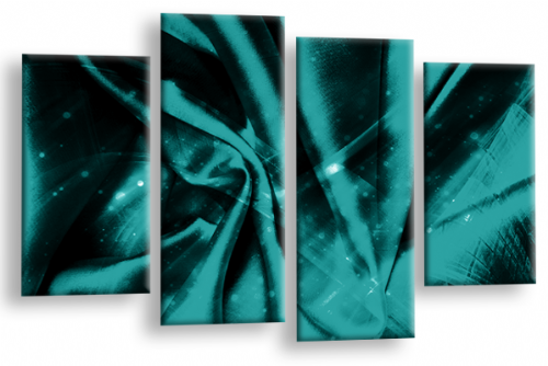 Modern Abstract Canvas Wall Art 2 Tone Teal Grey Black Picture
